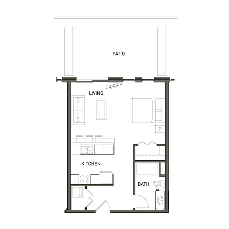 1 Bed Studio With Patio