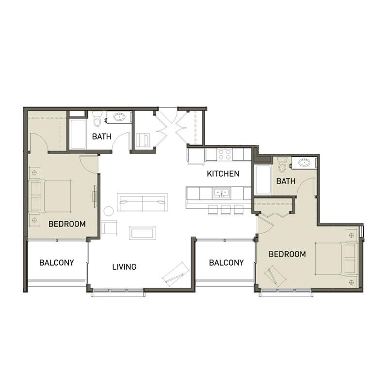 Smaller 2 Bedroom Apt